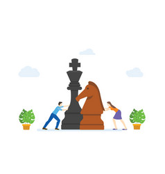 Men and women play big chess pieces concept vector