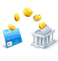 Money transfer between card and bank vector