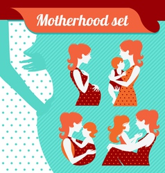 Motherhood set silhouettes of mother and baby vector image