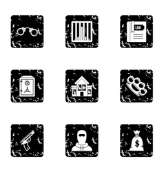Offense icons set grunge style vector