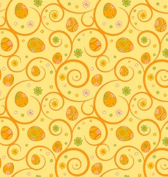 Orange easter seamless pattern with ornate eggs vector image