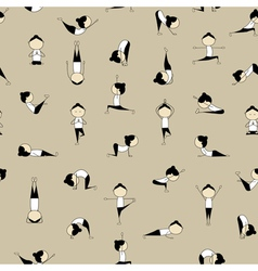 People practicing yoga seamless background for you vector