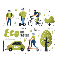 People riding eco transportation green urban city vector