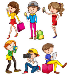 people using phone and camera on white background vector image
