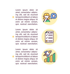 Personal growth plan concept line icons with text vector