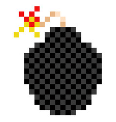 pixelated bomb icon vector image