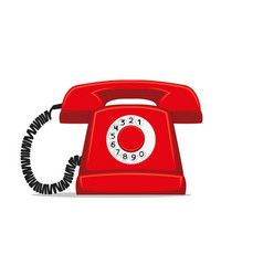red retro phone vector image
