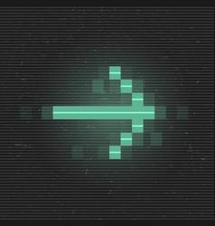 Retrofuturistic glitch right arrow green glowing vector