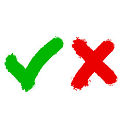 right and wrong icon hand drawn green vector image