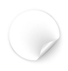 round empty sticker with rolled corner and shadow vector image