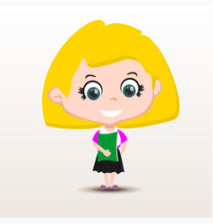 schoolgirl with book vector image