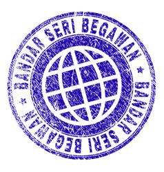 Scratched textured bandar seri begawan stamp seal vector