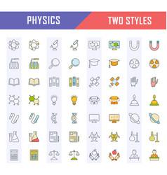 Set flat line icons physics vector