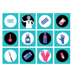 Set medical icons in circle button style vector