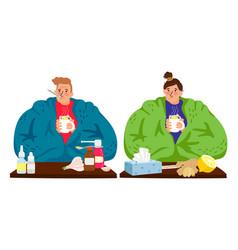sick caucasian man and woman vector image