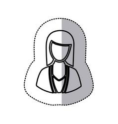 Sticker monochrome half body silhouette woman vector