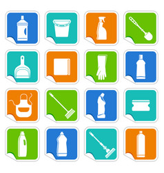 stickers with the equipment for cleaning vector image