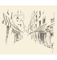 Streets in Paris France Vintage Hand Drawn vector image