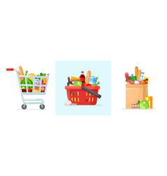 supermarket shopping cart and basket vector image