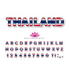 thailand cartoon font thai national flag colors vector image