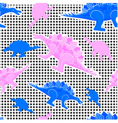 The memphis pattern of dinosaurs 80s 90s vector