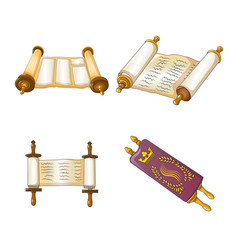 Torah scroll bible icons set cartoon style vector