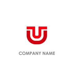 u initial design logo vector image