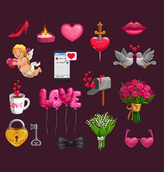 valentines day romantic love gifts hearts cupid vector image