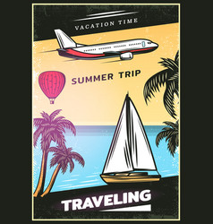 Vintage colored traveling poster vector