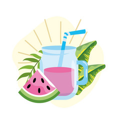watermelon juice with tropical leaves plants vector image