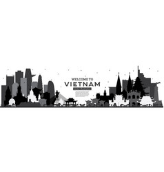 Welcome to vietnam skyline silhouette with black vector