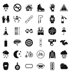 Welding mask icons set simple style vector