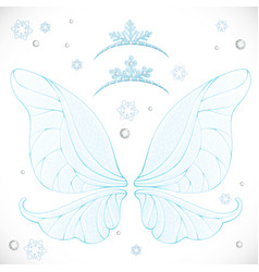 Winter fairy blue wings with tiaras bundled vector