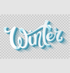 word winter with snow and icicles vector image