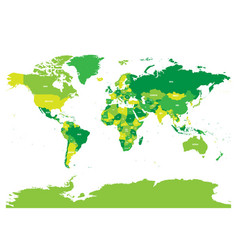 world map in four shades of green on white vector image
