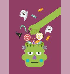 Zombie hand holding green head basket vector