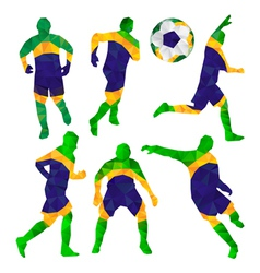 Brazilian football players set with ball in vector image