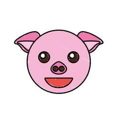 cute piggy drawing animal vector image