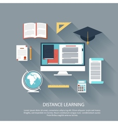 Distance learning with internet services concept vector image
