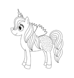 Fairy foal with wings coloring book page for vector image