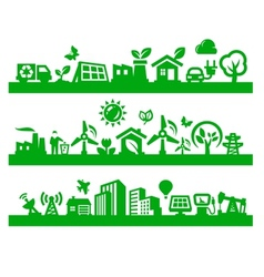 green city icons vector image