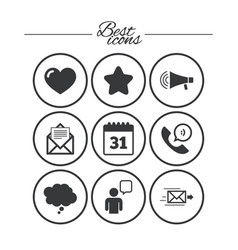 mail contact icons communication signs vector image vector image