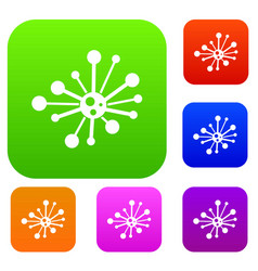 round bacteria set collection vector image vector image