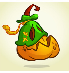 creepy halloween pumpkin head vector image vector image