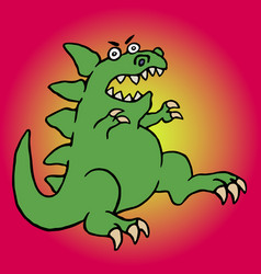 cute green screaming cartoon dino vector image vector image