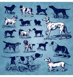 dogs vintage set vector image