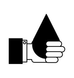 Hand human with water drop isolated icon vector