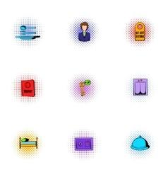 Hotel accommodation icons set pop-art style vector image
