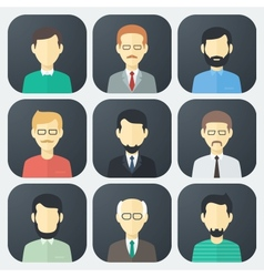 Male Faces Icons Set vector image vector image