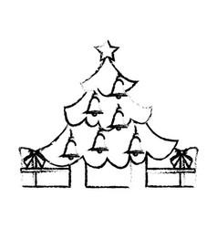 merry christmas happy tree star bells gift vector image